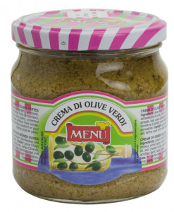 Crema di olive verdi – Green Olive Cream Glass jar 390 g nt. wt.
