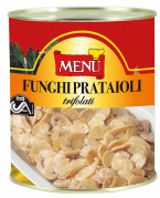 Funghi prataioli - Button mushrooms prepared with oil, garlic and parsley under aseptic conditions