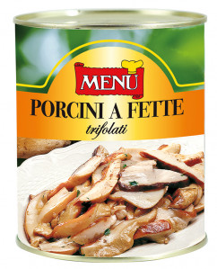 Porcini a fette trifolati - Sliced porcini mushrooms with olive oil, garlic and parsley Tin 800 g nt. wt.