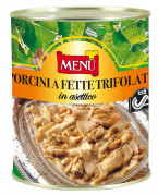 Porcini a fette trifolati in asettico - Sliced porcini mushrooms sauteed with olive oil, garlic and parsley processed under aseptic technology
