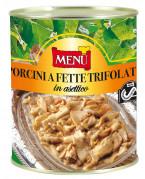 Porcini a fette trifolati in asettico (Cèpes en tranches sautés à l'ail et au persil sous atmosphère aseptique)