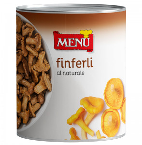 Finferli al naturale - Chanterelle mushrooms naturally preserved Tin 800 g nt. wt.