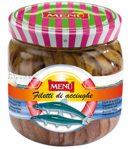 Filetti di Acciughe - Anchovy Fillets Glass jar 820 g nt. wt. Drained 380 g
