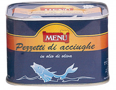 Pezzetti di Acciughe in olio di girasole (Anchois en morceaux à l'huile de tournesol)