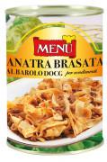 Anatra brasata al Barolo D.O.C.G. per condimenti (Pastasauce mit in Barolo-Rotwein DOCG geschmorter Ente)