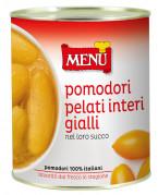 Tomates pelados amarillos enteros en su jugo
