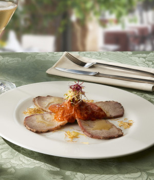 ROASTED PORK LOIN  WITH SWEET PEPPER CREAM