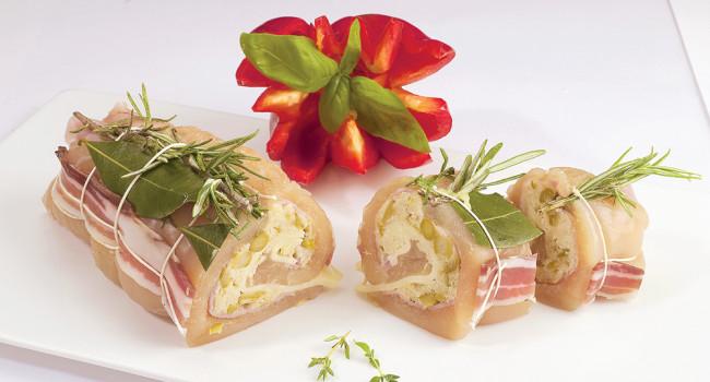 Arrotolato mit Spargel und gekochtem Schinken