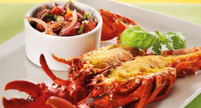Gratinée lobster with Mediterranean sauce