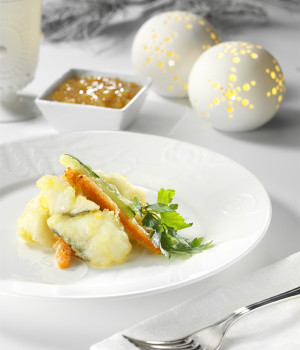 Tempura Cod with vegetables and Orange & Onions Sauce