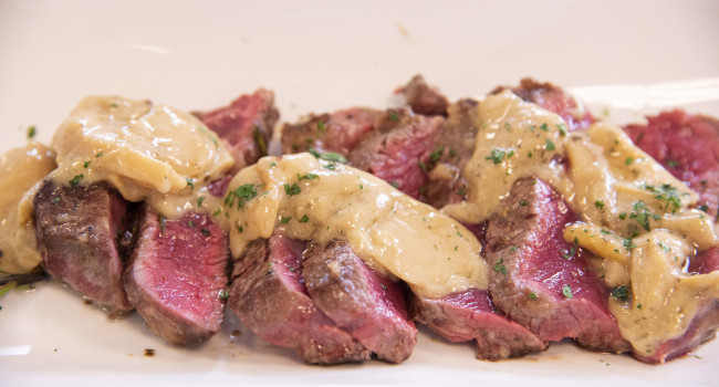 Sirloin steak with porcini mushrooms and truffle butter