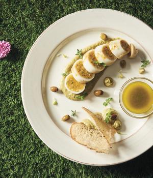 Calamari ripieni alla siciliana con vellutata di salicornia e salmoriglio