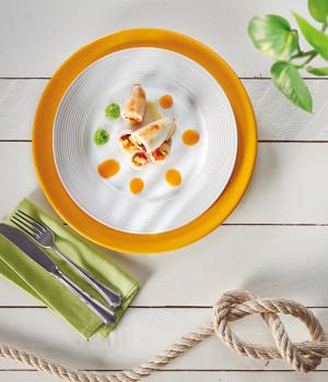 Calamaro con verdure e bisque