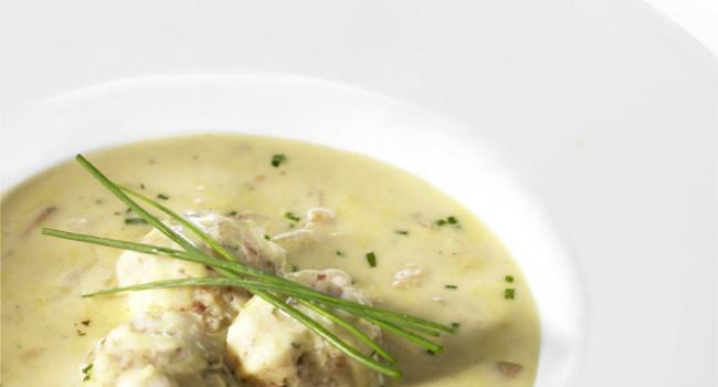 Porcini dumplings with mushrooms cheese fondue