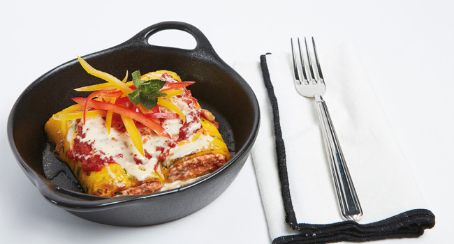EGG CANNELLONI WITH RICOTTA AND SHAKSHUKA