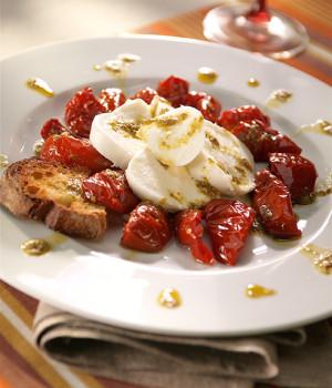 Buffalo caprese with Genovese Granopesto and Soleggiati sun blushed tomatoes