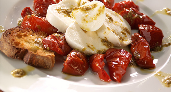 Buffalo caprese with Genovese Pesto and Soleggiati tomatoes