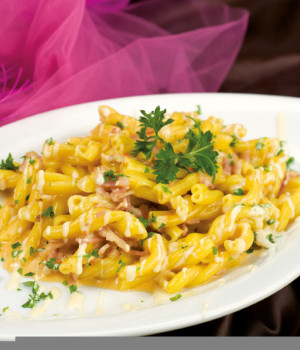 Casarecce pasta with guanciale and smoked scamorza