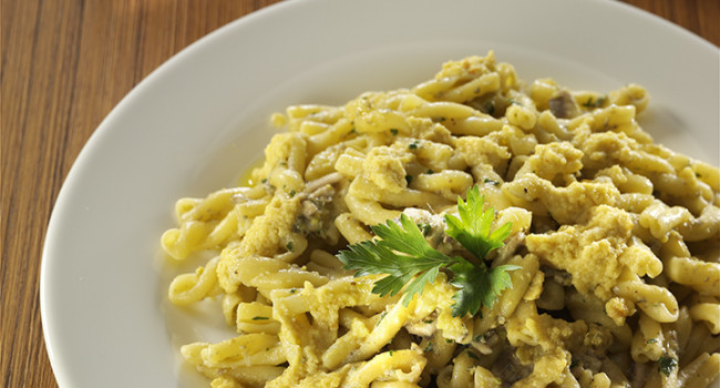 Casarecce pasta with anchovies, pistacchio and citrus pesto