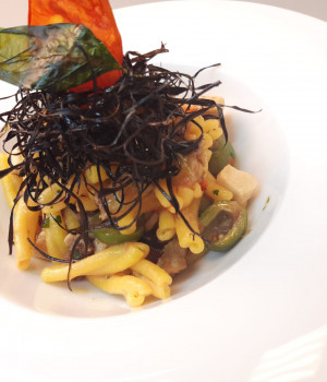 Casarecce pasta with swordfish, fried eggplant and castelvetrano olives