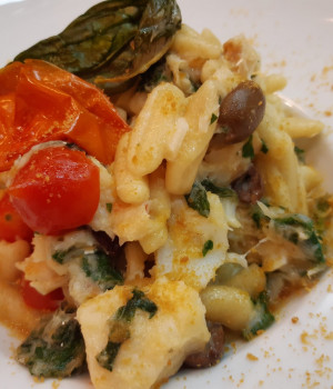 Cavatelli pasta with cod, taggiasche olives, borage and bottarga