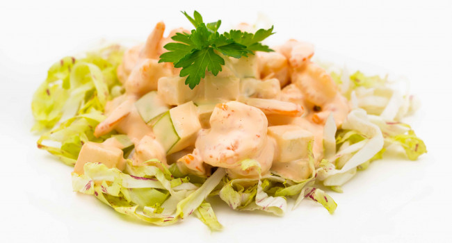 Shrimp cocktail with orange mayonnaise