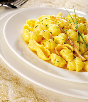Conchiglie pasta with wild boar prosciutto and saffron