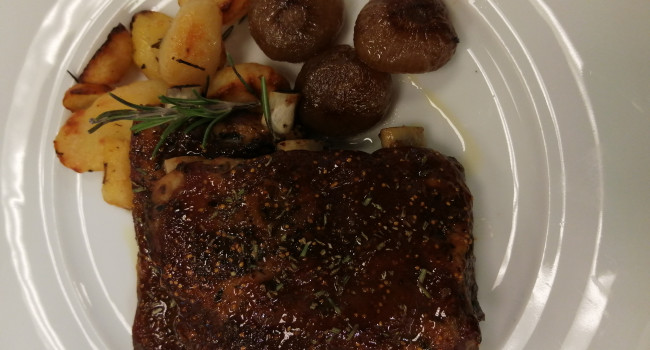 Fig glazed pork ribs with cipolline onions and rosemary potatoes