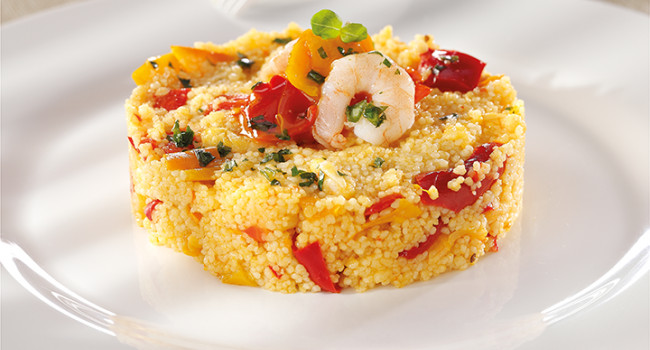 Cous Cous with peppers and prawns