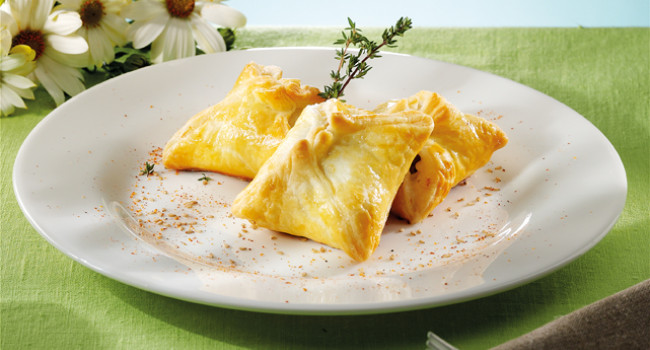 Stuffed puff pastry with  guanciale and rosemary cream