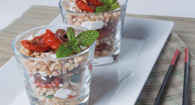 Farro salad in glasses