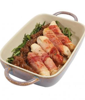 Filetes de Pollo con Jamón y cebolla caramelizada.