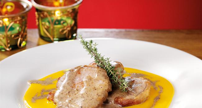 Filetto al tartufo con fonduta di formaggio di fossa