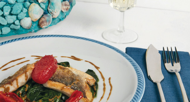 Bass fillet with chicche rosse on a bed of spinach