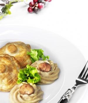 Crisp pork fillet with truffle and mashed chestnut