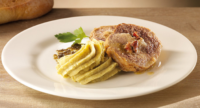 Fillet of pork stuffed by rosemary mashed potato