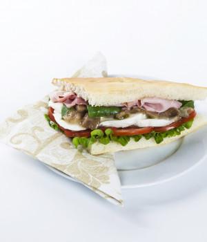 Ham and aubergine focaccia