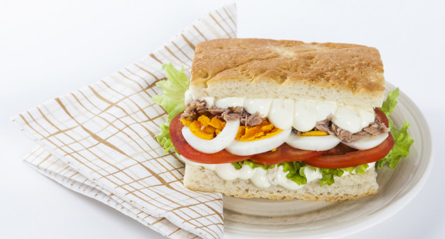 Focaccia with Tuna and Boiled Eggs