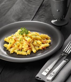 Fusilli all'amatriciana with yellow cherry tomato