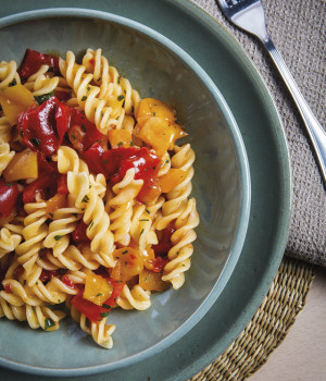 Fusilli pasta in pepper sauce