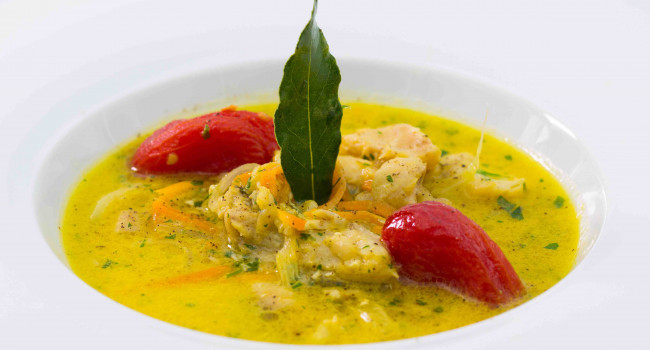 Grouper stew with saffron