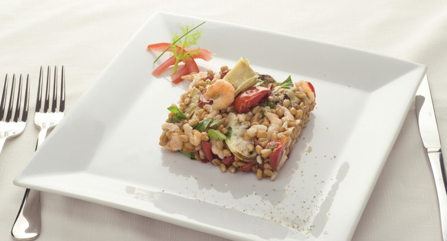 Salad of spelt and shrimps