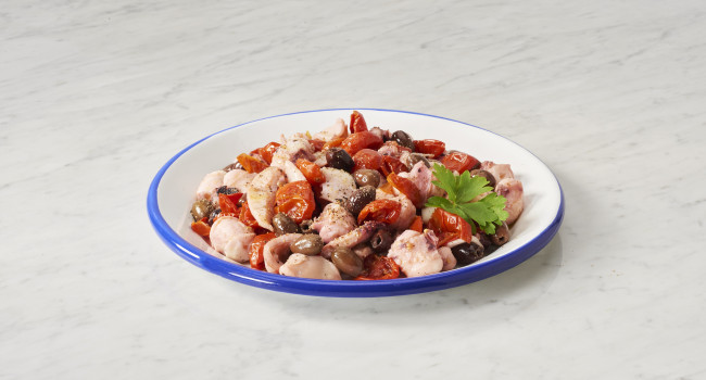 OCTOPUS AND CUTTLEFISH SALAD WITH DORATI CHERRY TOMATOES AND LECCINO OLIVES