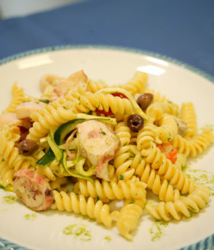 Cold pasta salad with fusilli and seafood fantasy