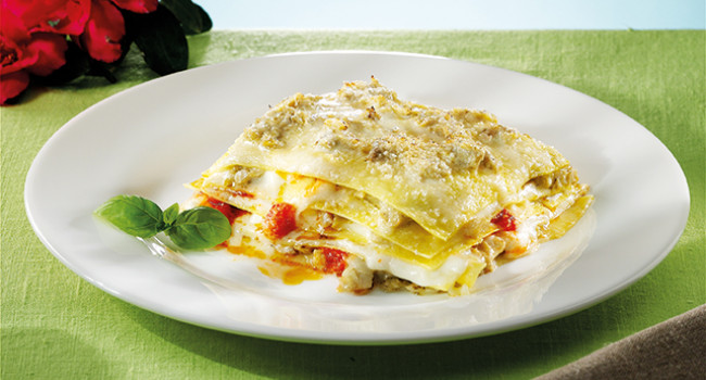 Lasagna with artichokes and light pesto