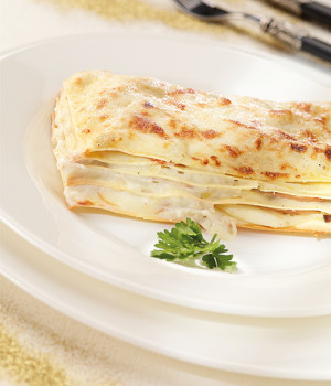 Lasagna with artichokes and smoked provola cheese