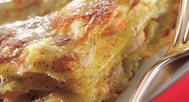 Lasagne al pesto e gamberetti
