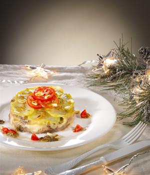 Lasagnetta di patate con alici, finocchietto e pecorino