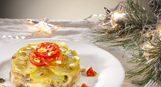 Potato lasagne with white anchovies ,wild fennel and pecorino cheese