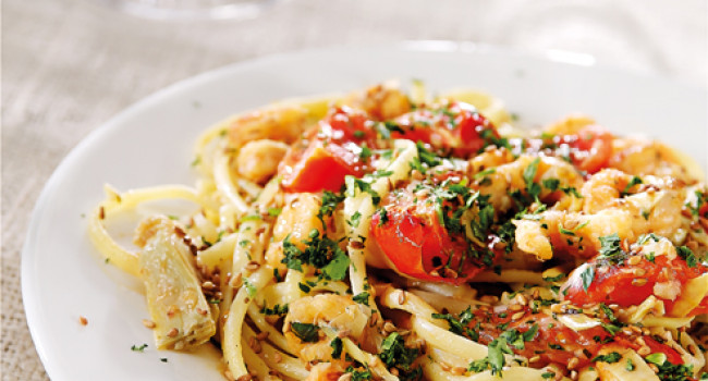 Linguine with artichokes and shrimps